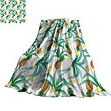 WinfreyDecor Hawaii Super Soft BlanketsBotany Inspired Traditional Luau Party Funky Polynesian Culture 60'' Wx80 L Jade Green Marigold Ginger