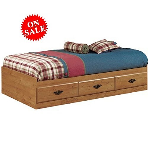 Wooden Light Brown Twin Mate's Bed with Storage Country Style Twin Bed Kid's Twin Bed Frame with Drawers and Antique Handles eBook by Easy&FunDeals
