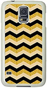 Gold Glitter Pattern Samsung Galaxy S5 Case with White Skin