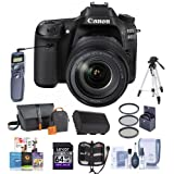 Canon EOS 80D DSLR Camera Body Kit with EF-S 18-135mm F3.5-5.6 IS USM Lens, Black - Bundle w/Camera Bag, 64GB SDHC Card, Spare Battery, Tripod, Remote Shutter, 58mm Filter Kit, Software Pack and More