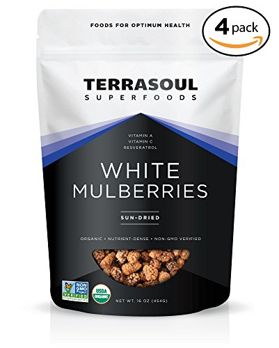 Terrasoul Superfoods Sun-dried White Mulberries (Organic), 4 Pounds