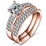 AnaZoz 2PCS Gold Plated Rings White Cubic Zirconia Wedding Ring Sets for Her Size 9