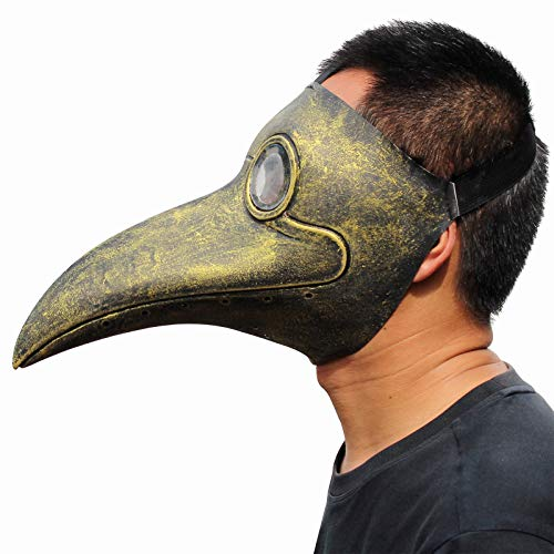 - PartyHop Plague Doctor Mask, Golden Bird Beak Steampunk Gas Costume, for Kid and Adult