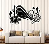 Large Vinyl Wall Decal Mexican Sombrero Tequila Cactus Decor Stickers (ig4366) Black