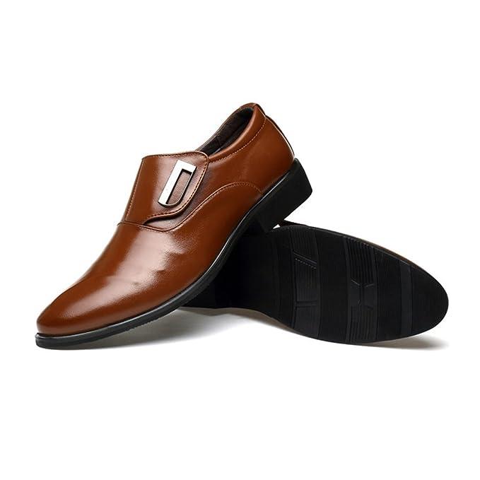 Xujw-shoes, Chaussures homme 2018, Chaussures d'affaires pour hommes Lisses en cuir PU doux à enfiler (Couleur : Marron, Taille : 42 EU)