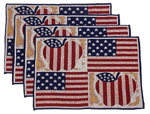 "Hickoryville Placemat Bundle - Set of 4 American Flag Themed Placemats 13"" x 19"" (Patriotic Apples)"