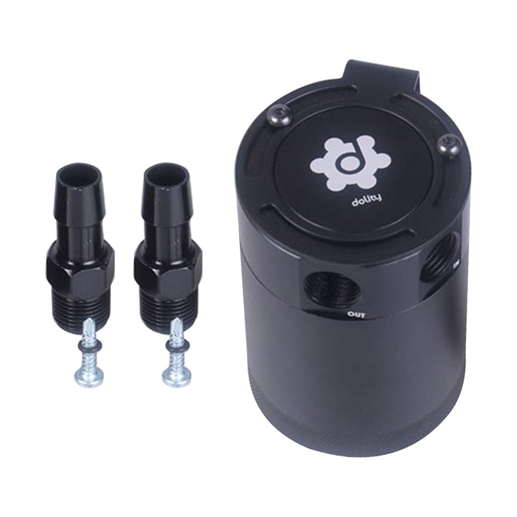 B Blesiya 4.72'' Universal Compact Baffled 2-Port Oil Catch Can Tank Air-Oil Separator Black
