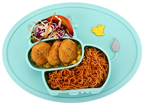 Qshare Toddler Plate, Portable Baby Plate for Toddlers and Kids, BPA-Free FDA Approved Strong Suction Plates for Toddlers, Dishwasher and Microwave Safe Silicone Placemat 11x8x1 inch