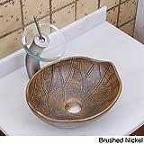 Elite 1562 F22T Oval Matt Glaze Autumn Leave Style Porcelain Ceramic Bathroom Vessel Sink Waterfall Faucet Combo Brushed Nickel Nickel Finish