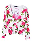 Prettyguide Women Cotton V Neck Rose Floral Print Cardigan Sweater Knitwear Tops
