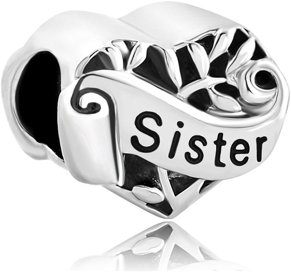 Breloque en forme de c/œur avec inscription /« Sister Love /» en argent sterling S925