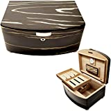 New Cuban Crafters Exclusivo Black 100 Count Spanish Cedar Lined Cigar Humidor