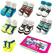 6 Pairs 0-10 month Baby Newborn Ankle Sock Toddler Crew Walkers Bootie Infant Socks (Mixed style 2)