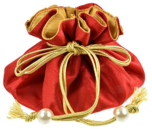 Handmade Drawstring Jewelry Pouch, Poly Dupioni Silk, Red + Gold