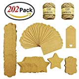 GeMoor 200 PCS Blank Kraft Paper Gift Tags with String, Small Hang Labels ...