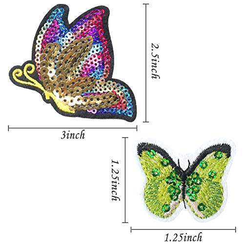 LoveInUSA Butterfly Cloth Patch,16 Pcs Butterfly Patches Butterfly Embroidery Patch Assorted Size Butterfly Patches Iron On for DIY Jeans Jacket Clothing Handbag Shoe Caps