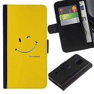 LECELL--Cuero de la tarjeta la carpeta del tirón Smartphone Slots Protección Holder For Samsung Galaxy S5 V SM-G900 -- LINDA CARA SONRIENTE AMARILLO --