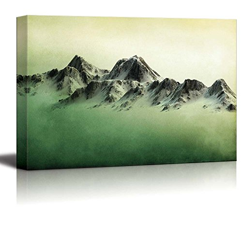 Mountains Over a Green Watercolor Gradient Background