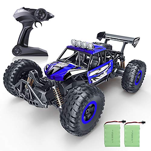 RC Car, SPESXFUN Newest 2.4 Ghz High Speed Remote Control Car 1/16 Scale Off Road RC Trucks with Two Rechargeable Batteries, Racing Toy Car for All Adults & Kids(Blue)