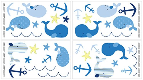 Nautica Kids Brody Whale/Anchor Wall Decals, Navy/Light Blue/Royal/Yellow - Baby Fabric Stickers