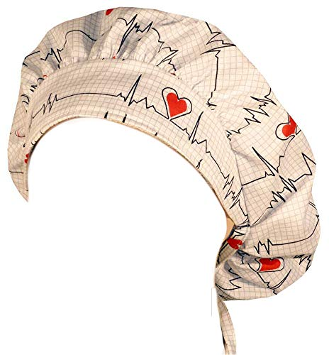 Sparkling Earth Bouffant Medical Scrub Cap - Heartbeats On White