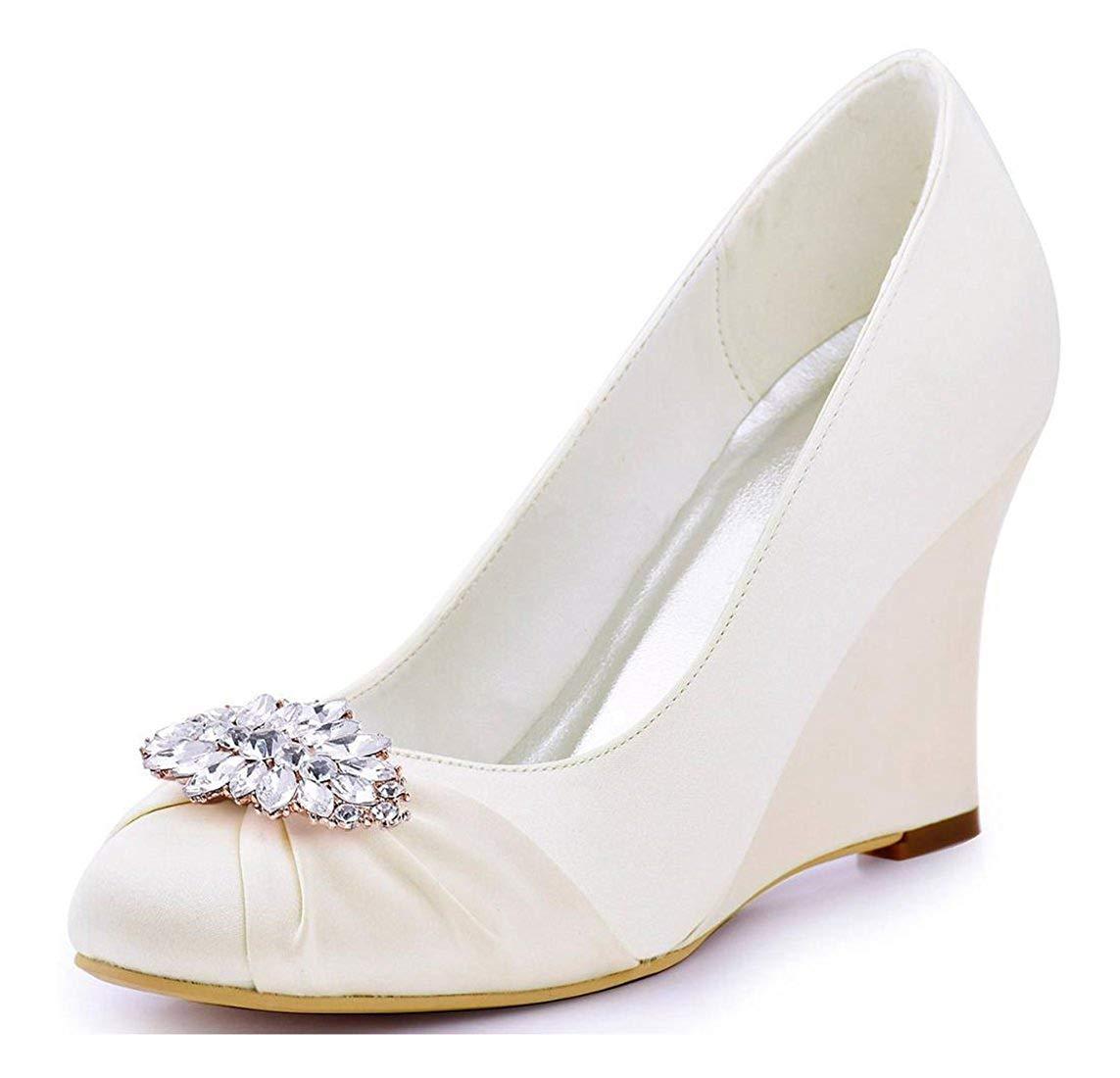 HhGold Damen Klassische Mandel Toe Wedge High Heel Elfenbein Satin Braut Hochzeit Pumps UK 2.5 (Farbe   -, Größe   -)