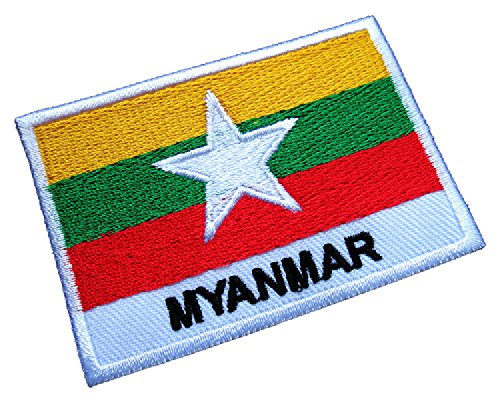 Republic of the Union of Myanmar Burma National Flag Sew on Patch Free (Burma National Flag)