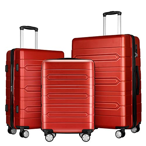 (Fochier 3 Piece Luggage Sets Expandable Hard Shell Suitcase 4 Spinner Wheels with TSA Lock Red)