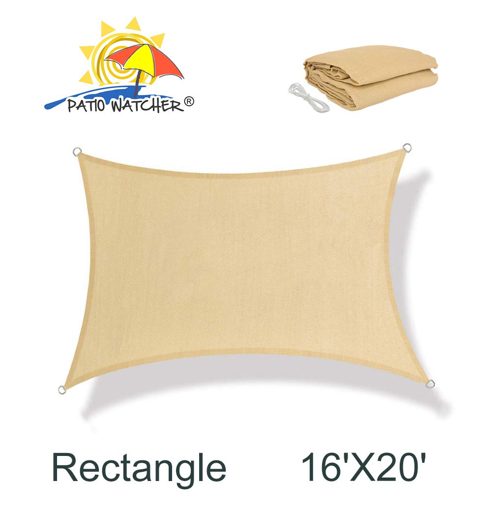 Patio Watcher 16' x 20' Rectangle Sun Sail Shade UV Block Shade Sail Perfect for Outdoor Patio Garden Sand
