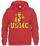 Cybertela United States Marine Corps USMC Sweatshirt Hoodie Hoody (Red, Small)