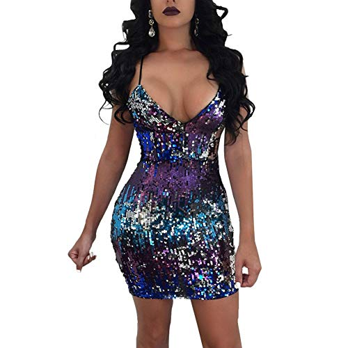 (FENGNV Women's Sexy Deep V Neck Sleeveless Backless Gradient Sequin Bodycon Stretchy Mini Party Dress Clubwear)