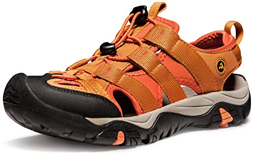 ATIKA Men's Sports Sandals Trail Outdoor Water Shoes 3Layer Toecap, All Terrain Orbital(m107) - Orange, 8 ()