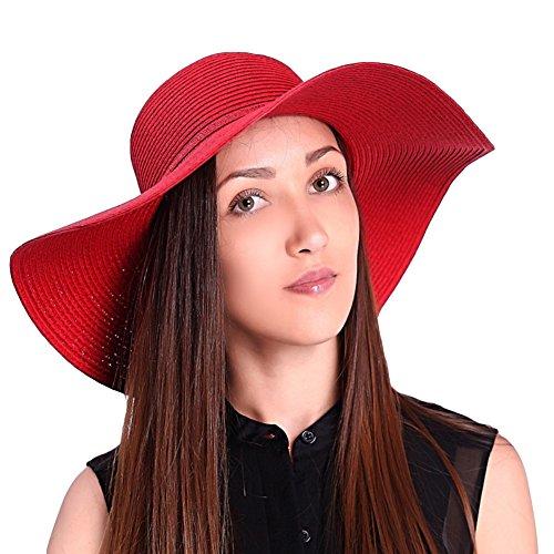 JOOWEN Sun Visor Hat Wide Brim Cap Floppy Foldable Beach Straw Hats For Women(Red) (Red Beach Hat)