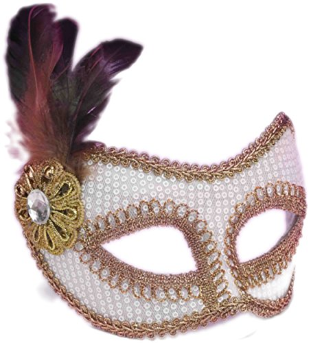 - Forum Novelties Adult's White Gold Sequin Venetian Carnival Eye Mask with Feather Plume, One Size