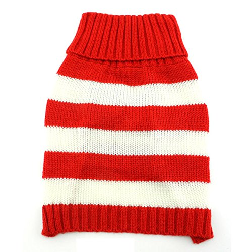 - SMALLLEE_LUCKY_STORE Pet Cat Small Dog Sweater Striped, White and Red, Medium