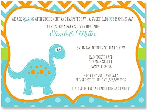 Dinosaur Baby Shower Invitations, Boy Blue Green Orange Turquoise Chevron Stripes Polka Dots Dino First Birthday Personalized Custom Printed with Your Event Details 10 Pack