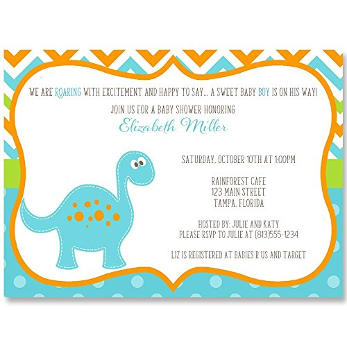 Dinosaur Baby Shower Invitations, Boy Blue Green Orange Turquoise Chevron Stripes Polka Dots Dino First Birthday Personalized Custom Printed with Your Event Details (10 Pack)