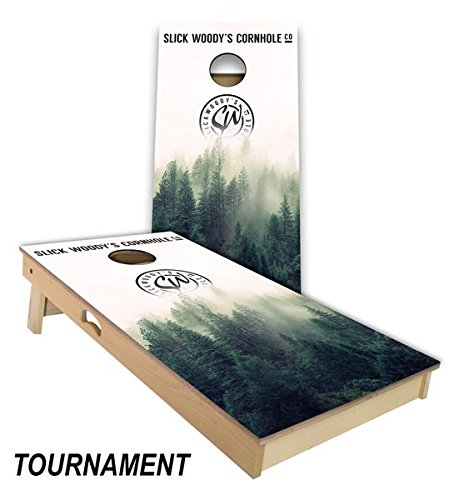 Slick Woody's Foggy Forest Cornhole Board Set 4' by 2' Tournament size MADE IN THE USA!! by Slick Woody's Cornhole Co.