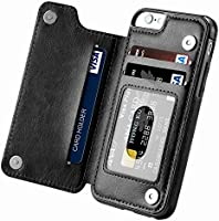 iphone 6 Plus case,iphone 6s Plus Wallet Case with Card Holder Kickstand Card Slots Shockproof Cover