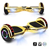"""CHO 6.5"""" inch Chrome Hoverboard Electric Smart Self Balancing Scooter with Built-in Wireless Speaker LED Wheels and Side Lights- UL2272 Certified (Gold)"""