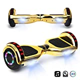 CHO 6.5' inch Chrome Hoverboard Electric Smart Self Balancing Scooter with Built-in Wireless Speaker LED Wheels and Side Lights- UL2272...