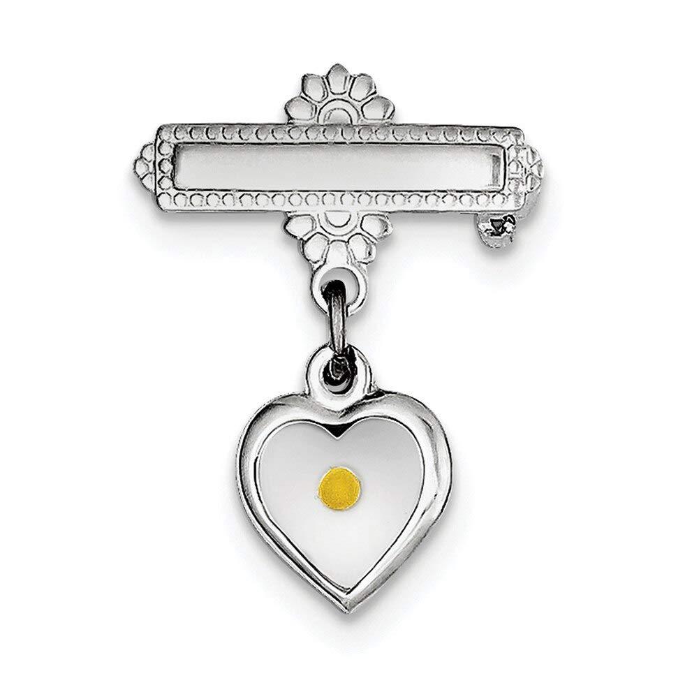Lex /& Lu Sterling Silver w//Rhodium Polished Heart w//Epoxy Mustard Seed Pin