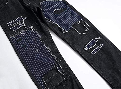 Negro Los Jeans Moda Hombres Destruidos Pantalones Vaqueros Recta Modernas De Casual Cintura Ocio Rasgados Media La qaAqxfZpw