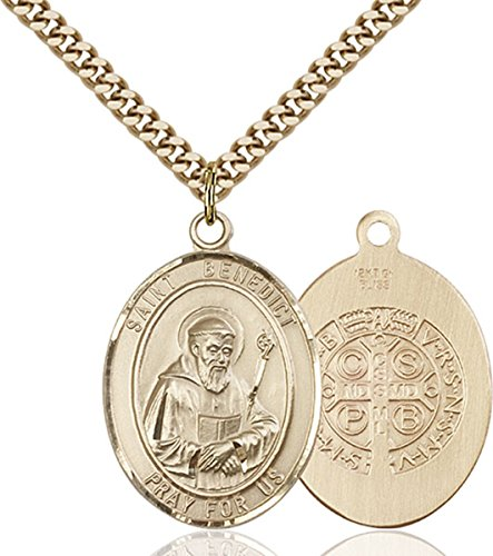 14KT Gold Filled Catholic Patron Saint Medal Pendant, 1 Inch
