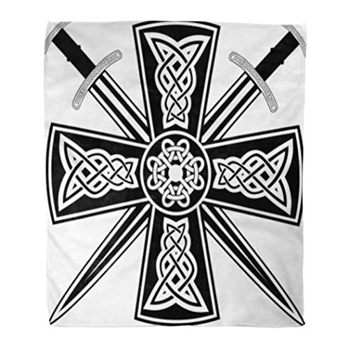 Cross Ancient Celtic - Golee Throw Blanket Pagan Celtic Cross The Crossed Swords Knot Medieval Tribal Ancient 60x80 Inches Warm Fuzzy Soft Blanket for Bed Sofa