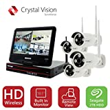 Crystal Vision CVT9604E-3010W All-in-One TRUE HD Wireless Surveillance System NVR CCTV w/ 2TB HDD, Built-in Monitor & Router, Camera Auto Pair