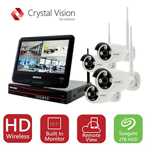 Crystal Vision Cvt9604e 3010W All In One True Hd Wireless Surveillance System Nvr Cctv W  2Tb Hdd  Built In Monitor   Router  Camera Auto Pair