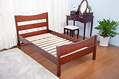Merax Wood Platform Bed Frame Mattress Foundation with Headboard and Wooden Slat Support, Twin