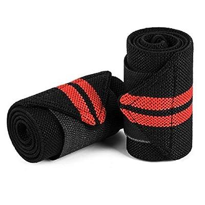 Magiin Lot de 2 Protège-poignet Bracelet Poignet Sport Poignet Eponge pour Gymnastique Culturiste Musculation - Noir