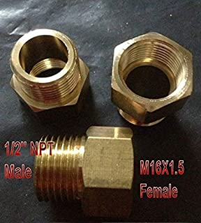 """Pipe Fitting 1//4/"""" NPT Male to Metric M16 M16X1.5 Female Adapter N-#96"""